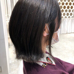 流し前髪 大人かわいい デート ボブ ヘアスタイルや髪型の写真・画像