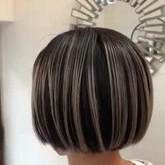 ボブ ナチュラル バレイヤージュ ハイライト ヘアスタイルや髪型の写真・画像