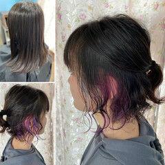インナーブルー 無造作パーマ ボブ ガーリー ヘアスタイルや髪型の写真・画像