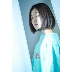 切りっぱなしボブ ワンレングラボブ ナチュラル ワンレングス ヘアスタイルや髪型の写真・画像
