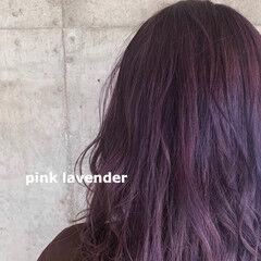 ブリーチカラー ダブルカラー ピンクパープル パープルアッシュ ヘアスタイルや髪型の写真・画像