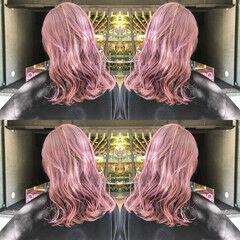 クール ミディアム ストリート ピンクバイオレット ヘアスタイルや髪型の写真・画像