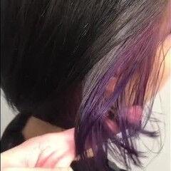 ボブ インナーカラーバイオレット ミニボブ バイオレット ヘアスタイルや髪型の写真・画像