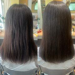 ナチュラル ストレート セミロング 縮毛矯正 ヘアスタイルや髪型の写真・画像