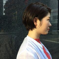 ナチュラル 女子会 ウェットヘア ショート ヘアスタイルや髪型の写真・画像