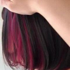 チェリーレッド インナーカラーレッド レッドカラー ボブ ヘアスタイルや髪型の写真・画像