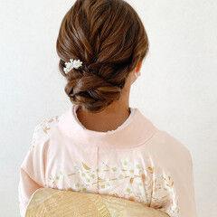振袖 ミディアム 和装ヘア 結婚式 ヘアスタイルや髪型の写真・画像