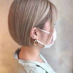 ハイトーンボブ ボブ 切りっぱなしボブ ミニボブ ヘアスタイルや髪型の写真・画像