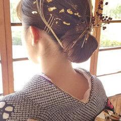 結婚式ヘアアレンジ 成人式ヘアメイク着付け ドライフラワー インナーカラー ヘアスタイルや髪型の写真・画像
