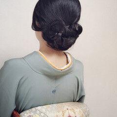 上品 和服 エレガント セミロング ヘアスタイルや髪型の写真・画像