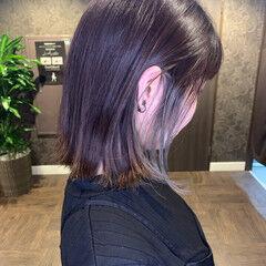 インナーカラー ナチュラル セミロング ショートヘア ヘアスタイルや髪型の写真・画像