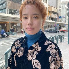 ブリーチカラー ナチュラル オレンジカラー ベリーショート ヘアスタイルや髪型の写真・画像