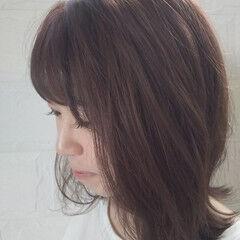 ナチュラル ピンクアッシュ 透明感 セミロング ヘアスタイルや髪型の写真・画像