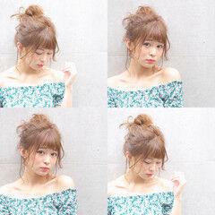 メッシーバン 涼しげ 色気 フェミニン ヘアスタイルや髪型の写真・画像