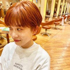 オレンジ コンパクトショート オレンジベージュ ナチュラル ヘアスタイルや髪型の写真・画像
