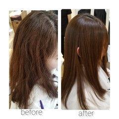 ナチュラル 縮毛矯正 TOKIOトリートメント 髪質改善 ヘアスタイルや髪型の写真・画像