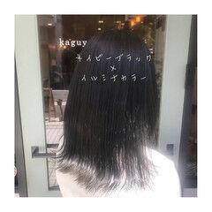 イルミナカラー ミディアム ネイビー ツヤ髪 ヘアスタイルや髪型の写真・画像