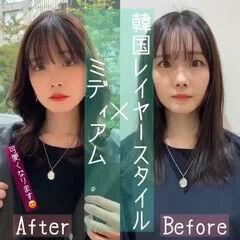 似合わせカット エレガント 韓国ヘア 韓国風ヘアー ヘアスタイルや髪型の写真・画像