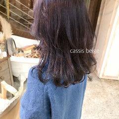 ラベンダーピンク パープルアッシュ パープル ロング ヘアスタイルや髪型の写真・画像