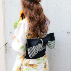 ヘアアレンジ 波ウェーブ ロング 夏 ヘアスタイルや髪型の写真・画像