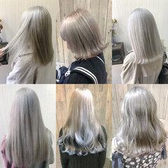 ホワイトカラー ホワイトブリーチ フェミニン ホワイトアッシュ ヘアスタイルや髪型の写真・画像