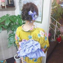 浴衣ヘア 浴衣アレンジ ヘアアレンジ ロング ヘアスタイルや髪型の写真・画像
