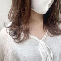 ショコラブラウン ナチュラル ミディアム フォギー ヘアスタイルや髪型の写真・画像