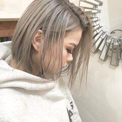 ミニボブ グラデーションカラー ハイトーンボブ ナチュラル ヘアスタイルや髪型の写真・画像