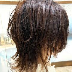 ニュアンスウルフ ミディアム ネオウルフ ナチュラル ヘアスタイルや髪型の写真・画像