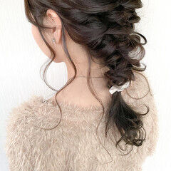 編みおろしヘア 艶髪 編みおろし ヘアアレンジ ヘアスタイルや髪型の写真・画像