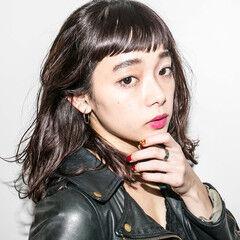 黒髪 ミディアム ストリート パーマ ヘアスタイルや髪型の写真・画像