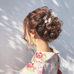 花火大会 大人かわいい 夏 セミロング ヘアスタイルや髪型の写真・画像