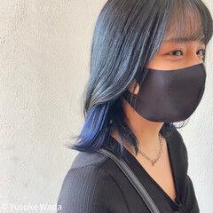 インナーブルー ボブ ブルーブラック ストリート ヘアスタイルや髪型の写真・画像