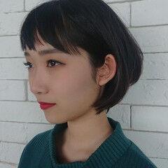 シースルーバング モード ショート ダブルバング ヘアスタイルや髪型の写真・画像