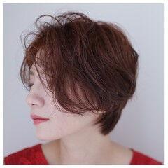ナチュラル カッパー くせ毛風 暖色 ヘアスタイルや髪型の写真・画像