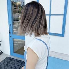 3Dハイライト ガーリー コントラストハイライト ミディアム ヘアスタイルや髪型の写真・画像