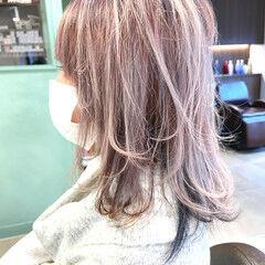 ピンクラベンダー ミディアム ピンクパープル フェミニン ヘアスタイルや髪型の写真・画像