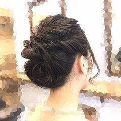 くるりんぱ ボブ 結婚式 フェミニン ヘアスタイルや髪型の写真・画像