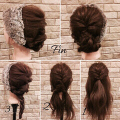 ギブソンタック ミディアム 簡単ヘアアレンジ デート ヘアスタイルや髪型の写真・画像