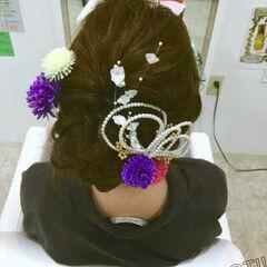 大人女子 成人式 暗髪 アップスタイル ヘアスタイルや髪型の写真・画像