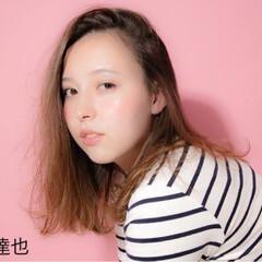 ガーリー ゆるふわ セミロング ベース型 ヘアスタイルや髪型の写真・画像