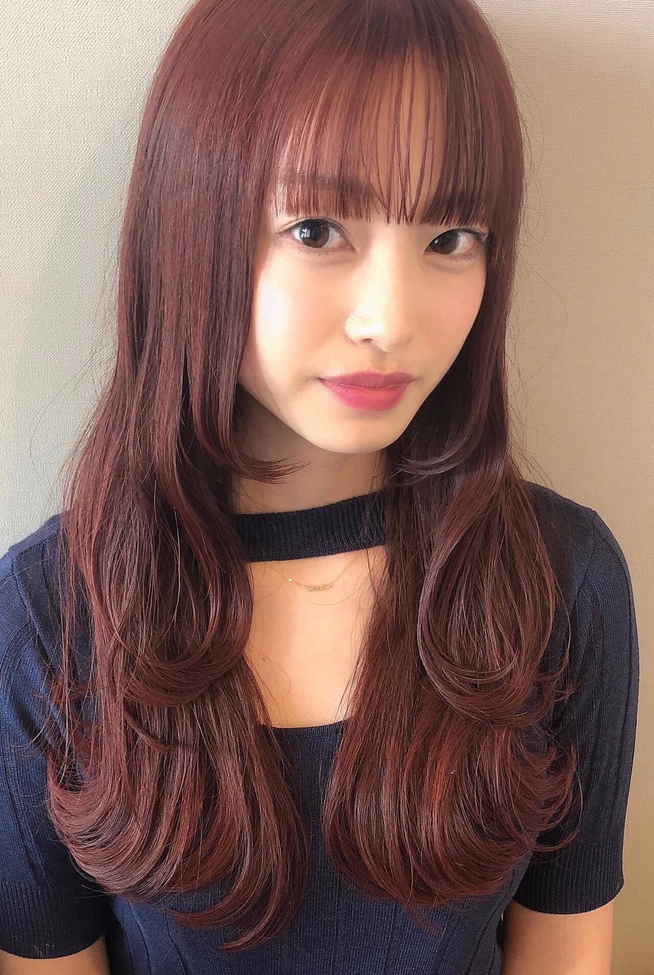 韓国 ピンクカラー 韓国風ヘアー 韓国ヘアヘアスタイルや髪型の写真・画像