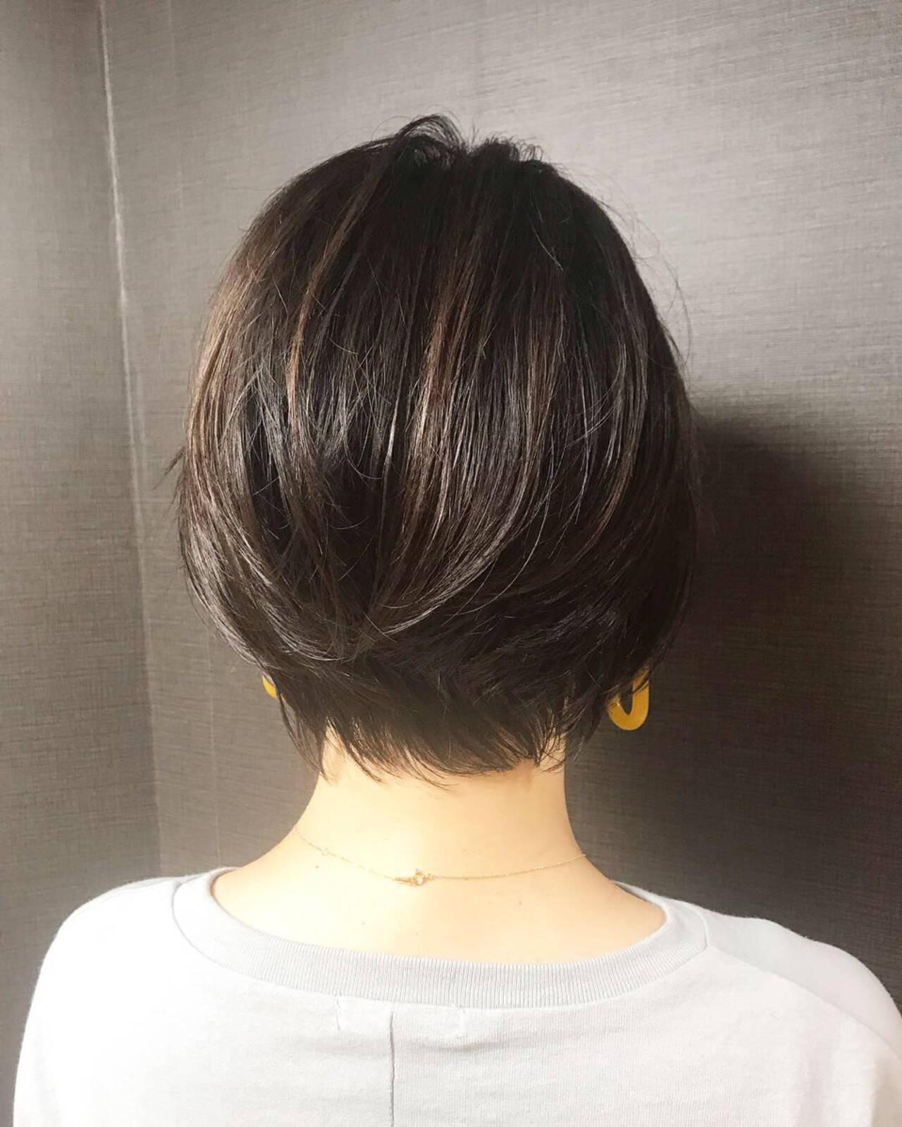 ショート 艶髪 小顔 ショートボブヘアスタイルや髪型の写真・画像