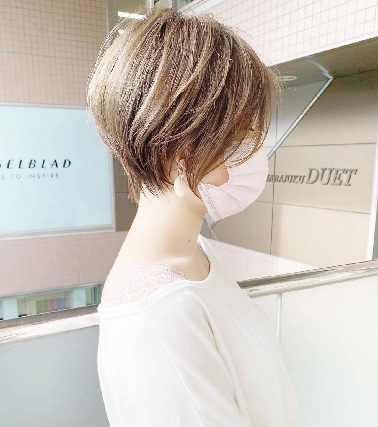 ひし形シルエット ナチュラル ショートボブ ショートヘアスタイルや髪型の写真・画像