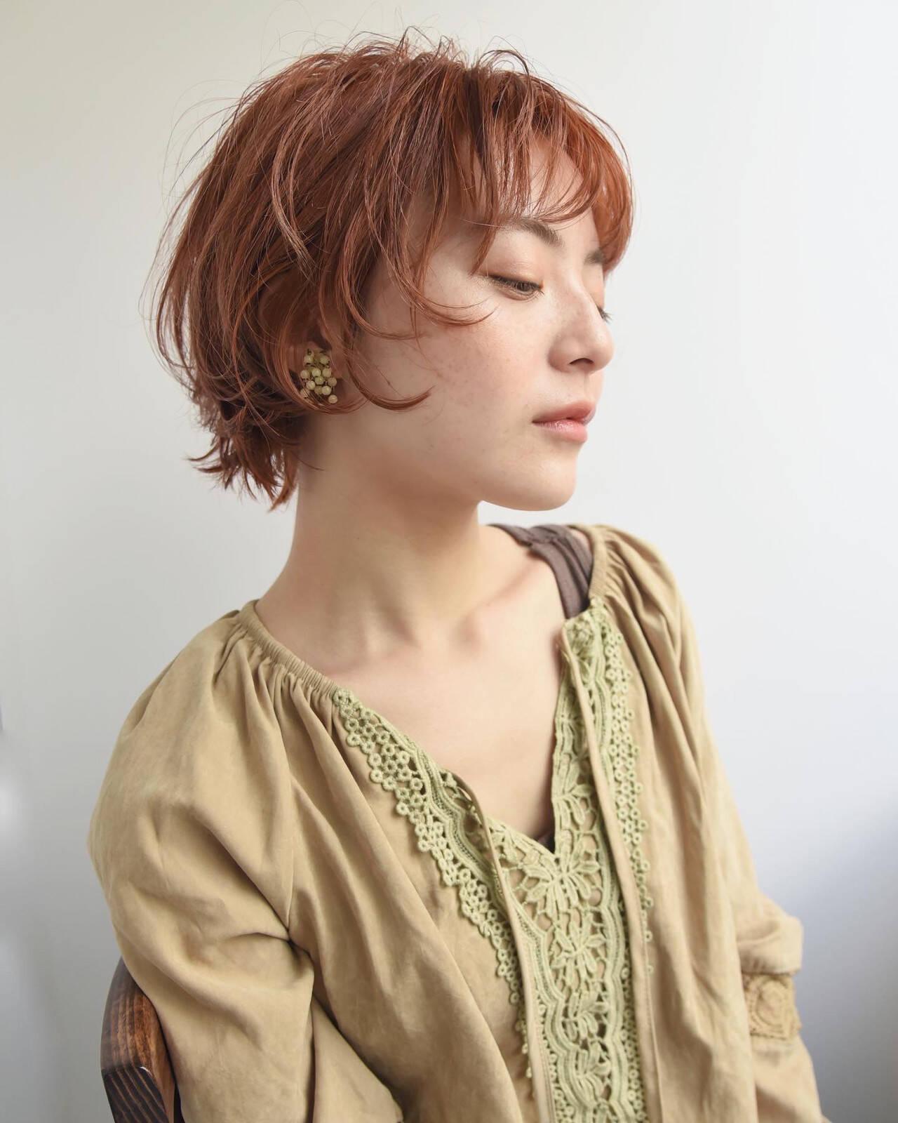 マッシュショート ナチュラル 前髪あり ショートヘアスタイルや髪型の写真・画像