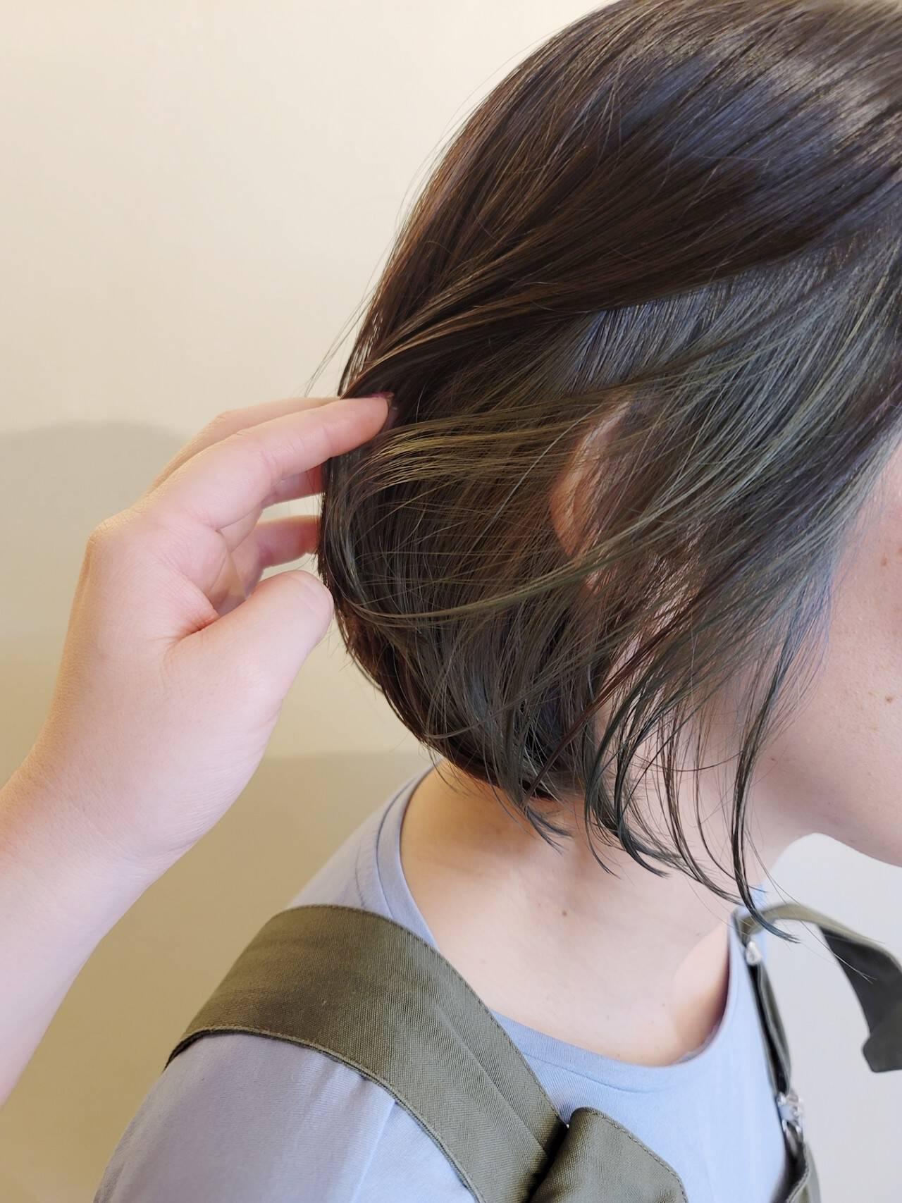 デザインカラー ショートボブ ボブ ハイライトヘアスタイルや髪型の写真・画像
