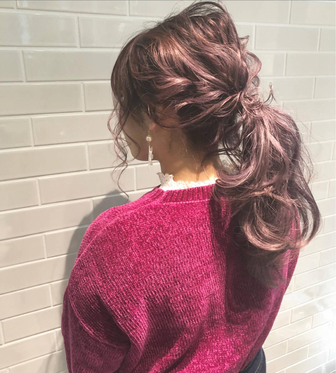 ポニーテール ヘアアレンジ ガーリー 大人かわいいヘアスタイルや髪型の写真・画像