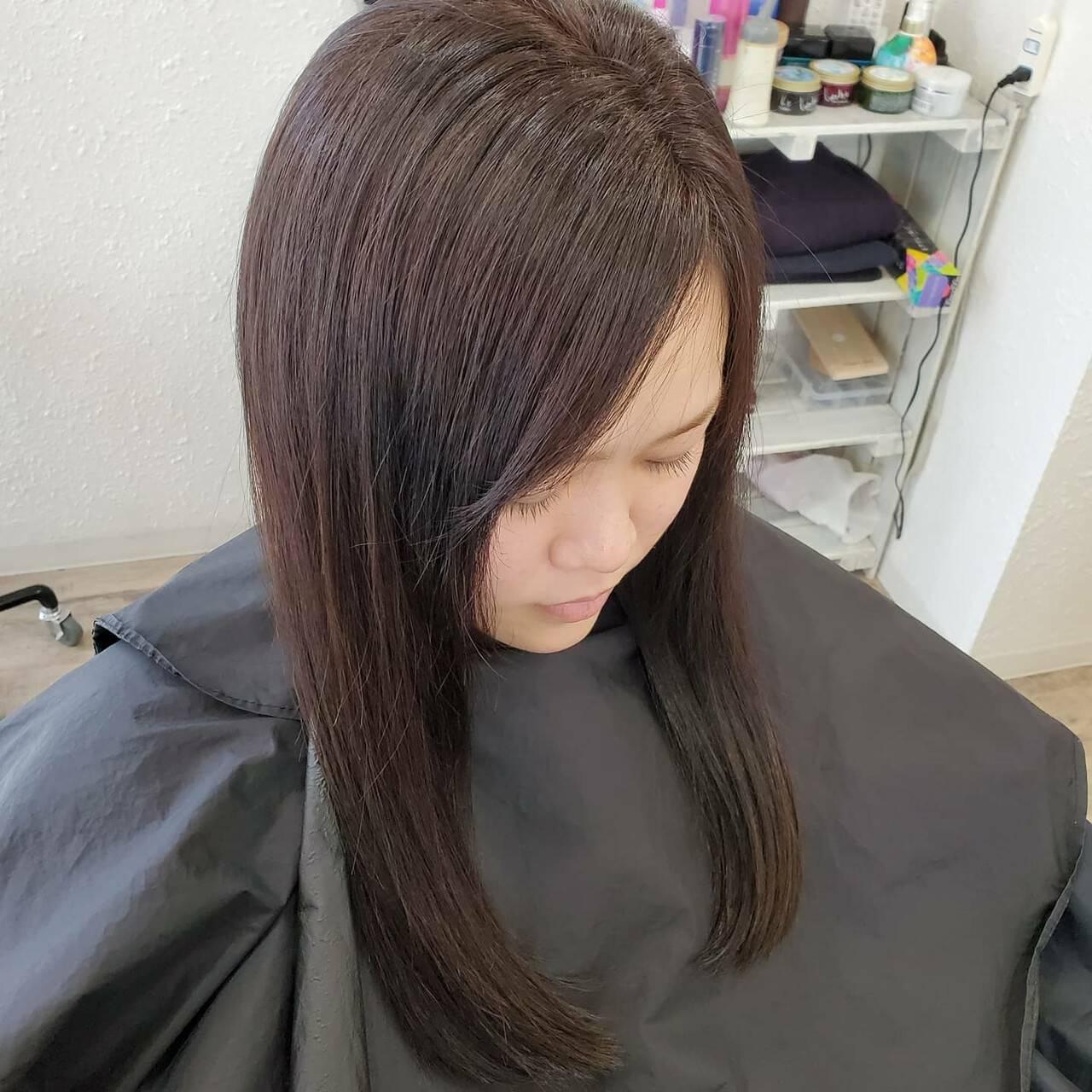 縮毛矯正ストカール 艶髪 ナチュラル ロングヘアスタイルや髪型の写真・画像