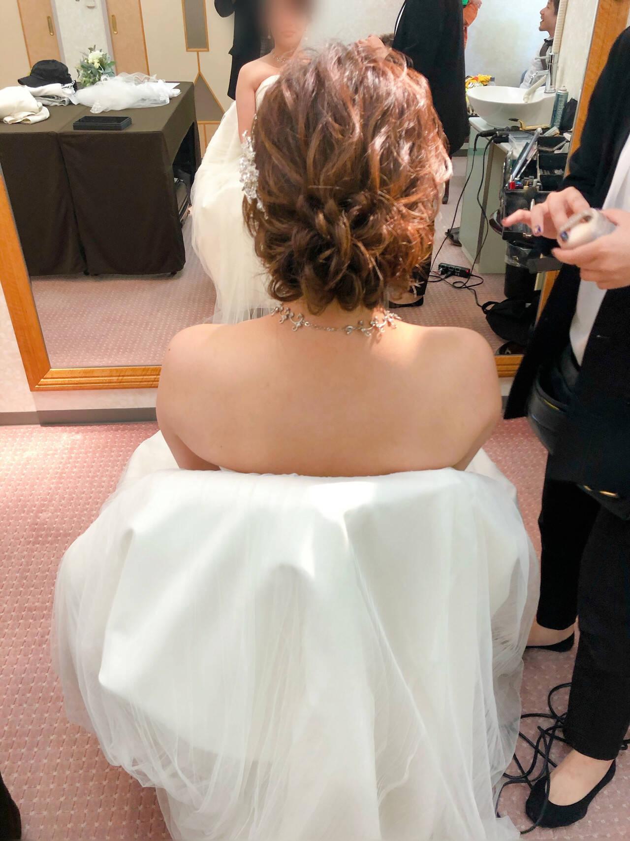 アップ セミロング 結婚式 ヘアアレンジヘアスタイルや髪型の写真・画像