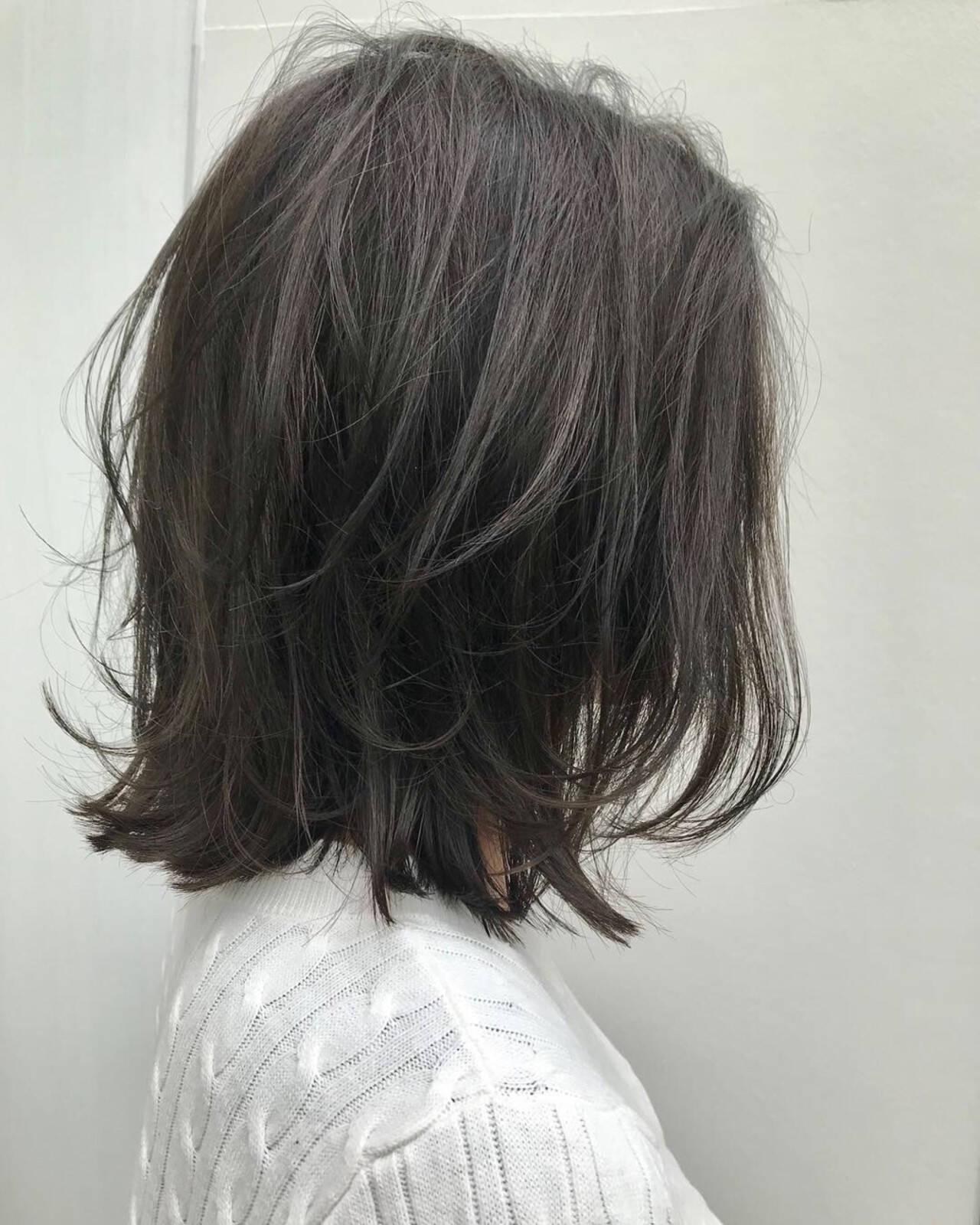 ロブ ミディアム 大人女子 ナチュラルヘアスタイルや髪型の写真・画像